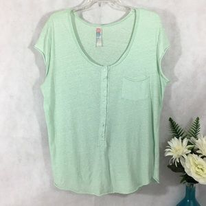 Free People Beach T-Shirt Short Sleeve Sz M Green